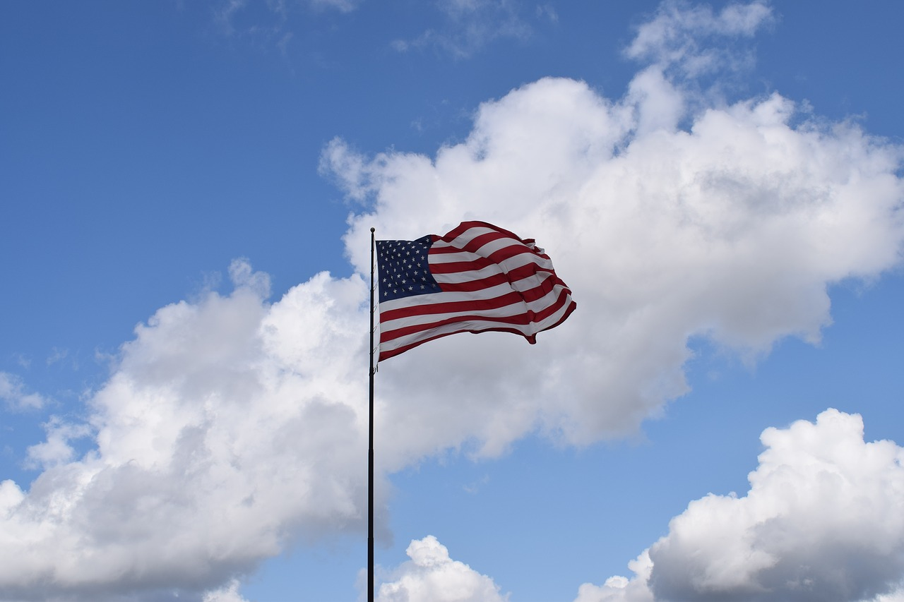 American Flag flying in the wind